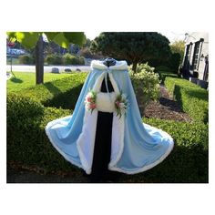 Frozen Ice Princess Bridal Cape Powder Blue Ivory Satin 45 inch with... ❤ liked on Polyvore featuring costumes, adult princess costume, disney halloween costumes, adult halloween costumes, holiday costumes and ball costume