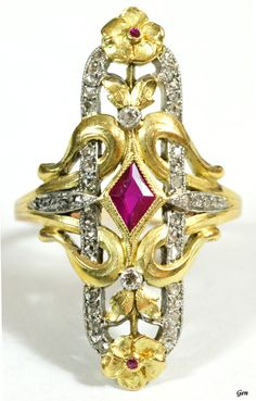 Art Nouveau ring Ruby rose-cut diamond 18k Silver France 1890-1900 circa