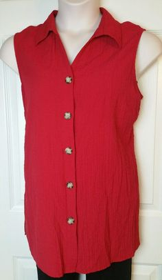 White Stag Red Blouse Size XL 16 18 Crinkle Button Front Sleeveless Rayon euc #WhiteStag #Blouse #Any