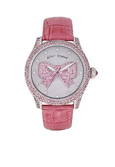 Betsey Johnson Pink Bow and Crocodile Embossed Leather Strap Watch.. love love love love , want this sooooo much