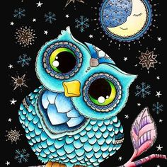 'owl with stars' by Samer Eisheh Mandala Art, Mandala Design, Cute Owls Wallpaper, Owl Cartoon, Owl Pictures, Kids Room Art, Owl Art, Cellphone Wallpaper, Whimsical Art