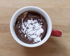 Flour-less Chocolate Cake in a Mug ( Deep S) *Use raw heavy cream instead of almond milk or pour some on top.