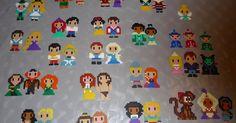 princes princesses et personnages disney en perles à repasser hama, hama beads
