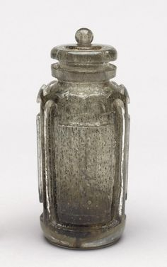 ** Maurice Marinot (1882-1960), Acid Sculpted Glass Bottle with Internal Inclusions.