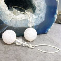 White drop earrings handmade from semi-precious white agate beads and then these have been topped with crystal beads.  – Making a Statement Jewellery UK