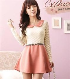 Korean Fashion Pink Long Sleeve Dress