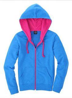 Blue Cardigan zipper Hooded Sweatshirt$43.00