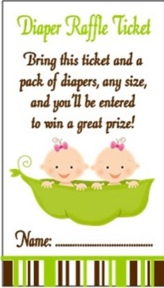 Personalized Two Peas in a Pod Diaper Raffle Ticket - Twin Boys, Twin Girls or Twin Boy and Girl available. Wording can be changed if you would prefer it say something else.