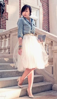 forever 21 denim chambray button up shirt, shabby apple holiday tulle tutu skirt, casadei nude patent leather pumps, forever 21 multi layered pearl necklace