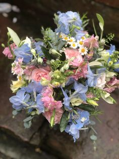 Roses, daisies, delphiniums, lisianthus, Summer Wedding Bouquets, Delphiniums, Daisies, Floral Wreath, Roses, Wreaths, Flowers, Plants, Decor