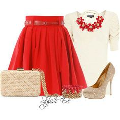 Red Skirt outfit Beautiful