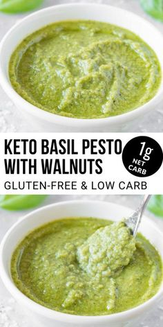 This keto pesto with walnuts is made from fresh ingredients in only 5 minutes. It's so flavorful and quick to make that it will become your favorite pesto sauce recipe of all time! Sauce Recipes, Keto Recipes, Cooking Recipes, Healthy Recipes, Free Recipes, Keto Side Dishes, Side Dish Recipes, Pesto With Walnuts Recipes, Pesto Sauce Ingredients