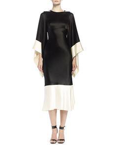 Alexander McQueen  Colorblock Kimono-Sleeve Midi Dress