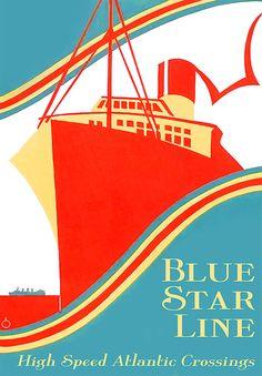 Blue Star Line Ship Decorative Arts Prints & par OMGsoRETRO