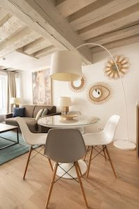 Marais designer 1BR, close to everything, up to 4 guest - Saint-Gervais Paris Airbnb, Open Market, King Bedroom, Washer And Dryer, Second Floor, Dining Area, Everything, Design, Washing And Drying Machine