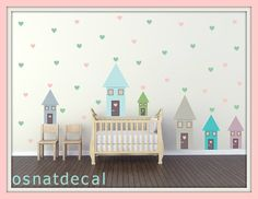 FREE SHIPPING Wall Decal 6 Happy Houses & 141 Hearts In A Pastel Colors.Wall Art. Nursery Wall Decal. Vinyl Wall Decal Kids Wall Decal.