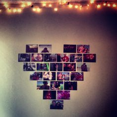 Wall decor for dorm with twinkly lights!