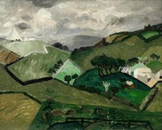 'Green Hills, Cornwall' by Christopher Wood, 1928 (oil on canvas) Green Landscape, Landscape Art, Landscape Paintings, Modernisme, Art Uk, Illustrations, Your Paintings, Painting On Wood, Art Projects