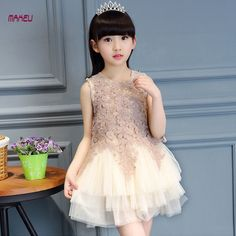 6ebf413a1 2017 Summer New Fashion Children Dress Lace Flower Girl Princess Dress for  Wedding Party Kids Girl Clothes Size for Y