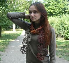 Crochet scarf Knitted neckwarmer Lariat scarf colorful