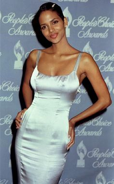 Halle berry brown and white dress.