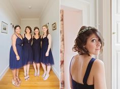 Bridesmaids wear blue dresses and homemade gyp flower crowns   Love My Dress