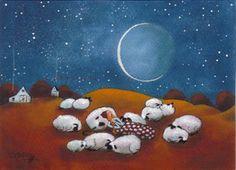 """Sleeping Out Under The Stars"" an original folk art painting by Deborah Gregg"