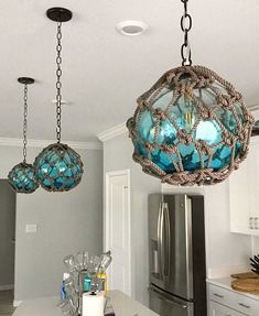 Coastal Lamps inspired by Fishing Glass Floats - Coastal Decor Ideas and Interio. Coastal Lamps inspired by Fishing Glass Floats - Coastal Decor Ideas and Interior Design Inspiration Images Beach Cottage Decor, Coastal Cottage, Coastal Decor, Coastal Living, Coastal Kitchen Lighting, Beach Cottage Kitchens, Seaside Decor, Coastal Style, Interior Design Inspiration