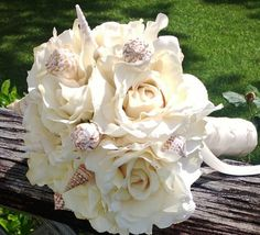 Shell Bridal Bouquet Ivory real touch cream by SilkFlowersByJean, $65.00