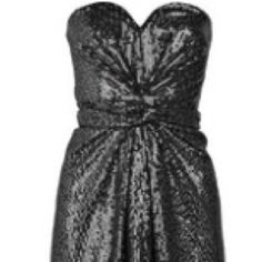 "Issa Sequin Dress COMING SOON  Never worn, black sequined silk, sweetheart neck, gathering at front, tie at back.  Concealed zip fastening at back.  100% silk.  UK size 14.  Runs small to size.  (I typically wear a UK 12/US 8.). Approximate measurements- length 25"", bust 29"", waist 30"", hip 30.5"".  No trades. Issa Dresses Strapless"