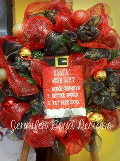 Christmas mesh wreath by Jennifer Boyd Designs.  Find me on Facebook: www.facebook.com/JenniferBoydDesigns