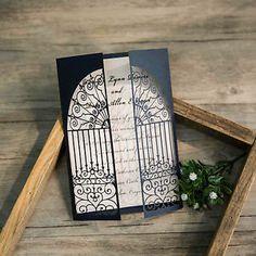 "50X Laser CUT Navy ""Door TO Happiness"" Wedding Invitations Engagement Envelope | eBay"
