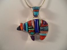 Sterling Silver Zuni Style Inlay Bear with Black Onyx, Stones by Navajo Artist Cathy Webster