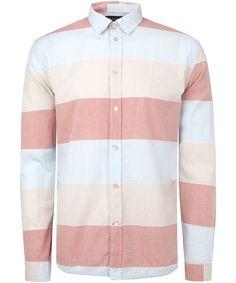 Pink Tri-Colour Block Stripe Shirt