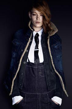 Arc teddy jacket, Hunter 5620 salopette, Hunter 5620 slim tailor jacket and white slim long sleeve shirt.
