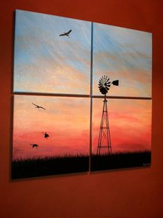 Abstract Windmill Crane Painting on Canvas by splitboarddesigns