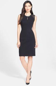 Classiques Entier® Geo Eyelet & Leather Trim Ponte Sheath Dress