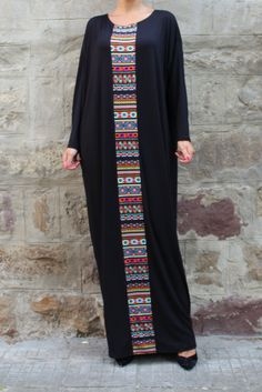 Black caftan Maxi dress Plus size dress kaftan Abaya