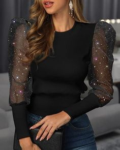 Glitter Puffed Sleeve Mesh Casual Blouse Women's Online Shopping Offering Huge Discounts on Dresses, Lingerie , Jumpsuits , Swimwear, Tops and More. Trend Fashion, Womens Fashion, Style Fashion, Fashion Tips, Cutout Dress, Pattern Fashion, Blouse Designs, Sleeve Styles, Blouses For Women