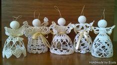 Handmade by Ecola & Dana Art - Aniołki 2015 Crochet Angel Pattern, Beach Cottage Style, Crochet Earrings, Christmas Ornaments, Sewing, Holiday Decor, Handmade, Creative Crafts, Dressmaking
