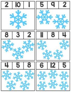 Clip cards featuring snowflakes to help teach numbers Super easy prep, 12 cards total! Free Preschool, Preschool Lessons, Kindergarten Activities, Preschool Activities, Preschool Winter, Winter Activities For Kids, Winter Theme, Snowflakes, Super Easy