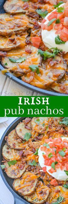 Irish Pub Nachos are pure comfort food.  Thinly sliced russet potatoes are tossed in traditional Irish seasonings before being baked to crisp, yet tender perfection. Liberally topped with cheddar cheese, crumbled bacon, sour cream, pico de gallo, and cilantro- they're the perfect way to celebrate St. Paddy's Day, wherever you are on the globe.