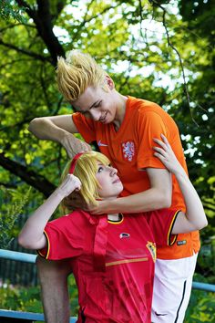 Axis Powers Hetalia: FIFA'14 special [8] by AndrielTaro.deviantart.com on @deviantART - Willem (head-canon name for Netherlands) and Anouk (head-canon name for Belgium), uploaded by the photographer