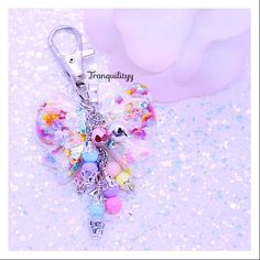 Bow Planner Charm, Cofitti Glitter Resin Iridescent Beaded Charm,  Zipper Charm , Key Ring, Necklace Purse Charm,  By: Tranquilityy