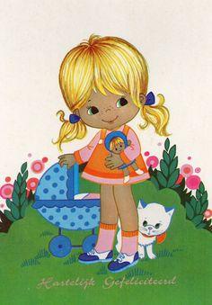 Vintage años 70 postal linda chica con muñeca por CuteEyeCatchers