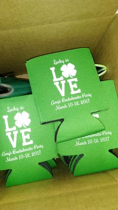 St. Patricks Day custom can coolers personalized for a bachelorette party. Lucky in Love