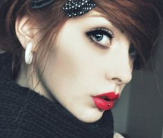 piercings for girls | cute, girl, piercing, red lips, vertical labret - inspiring picture on ...