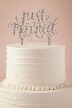 Silver Glitter 'Just Married' Wedding Cake Topper from @BHLDN