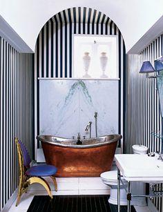 Bath - copper stand alone tub, stripes