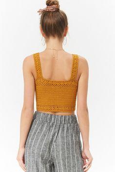 Crochet Lace-Up Crop Top